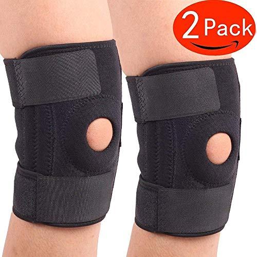 Clarashop Kniebandage, Kniebandage, Arthritis-Ärmel (2er-Set), ACL, Laufen, Basketball, Meniskusriss, Sport, Athletik. Öffnen Sie die Patellaschutzabdeckung