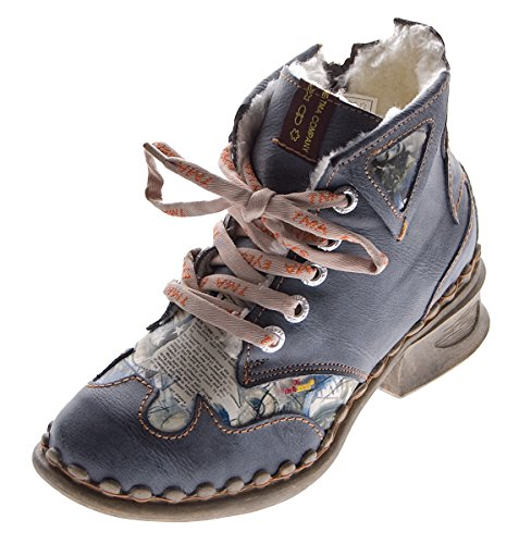 Leder Damen Winter Stiefeletten Comfort Knöchel Schuhe TMA 5171 Schwarz Weiß Blau Rot Boots gefüttert Schwarz Grau