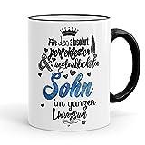 Funtasstic Tasse Für den absolut perfektesten Sohn - Kaffeepott Kaffeebecher 375 ml, Farbe:schwarz