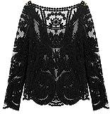 Frauen Sexy Semi Durchsichtig Langärmlig Stickerei Blumen Spitze Häkel Top Bluse - Schwarz, Large