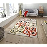 Funda de mezcla de lana Inaluxe alfombras confeccionadas a mano alfombras modernas Grande (varios diseños y tamaños), lana, naranja, 150 x 230 cm
