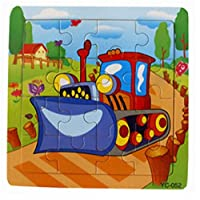 Buyby_Babys&Toy Wooden Puzzle,♣Buyby toys,16 Pieces Babys Jigsaw Puzzle Toys (Bulldozer)