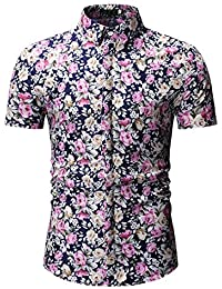 c4ab8c8ce6 NANSHIZSCS Camisa de hombre Camisa Casual para Hombre Camisa con Estampado  De Flores De Moda Hombres