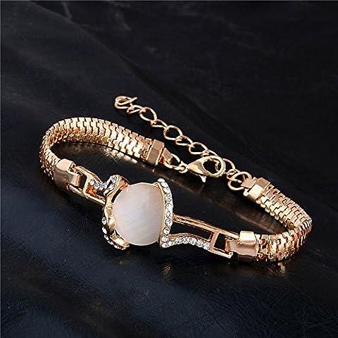 Armband Gold Rosa Creme Kristall Damen Katzenauge Österreichisches Kristall 18k