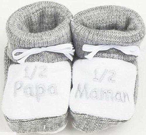 "Chaussons bébé brodé"" 1/2 papa ... Gris/blanc"