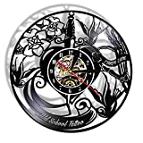 RRBOI Old School Tattoo Studio Disque Vinyle Mur Clcok Tatouage Salon Boutique Mur Sign Tattoo Machine Mur Art Décor Cadeau pour Hipster Hommes LED 7 Couleurs