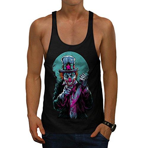 Böse Clown Bilder Kostüm (Clow Böse schaurig Horror Herren M Gym Muskelshirt |)
