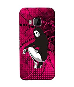 Fuson Dance Girl in Red Pattern Back Case Cover for HTC ONE M9 - D3705