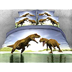 JF-043 Tencel tejido textil hogar dinosaurio conjuntos de ropa de cama tamaño queen housse de couette super king de hojas individuales disponibles
