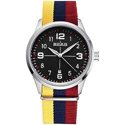 Read 5258Fashionable 3ATM Waterproof Quartz Wrist Uhr mit Stripes Nylon Band & Luminous Display & Calendar Function für Herren (Black Window Yellow Blue Red Strap)