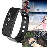 Wawer Smart Watch Sport Fitness Aktivität Herzfrequenz-Tracker Blutdruckuhr (Schwarz)