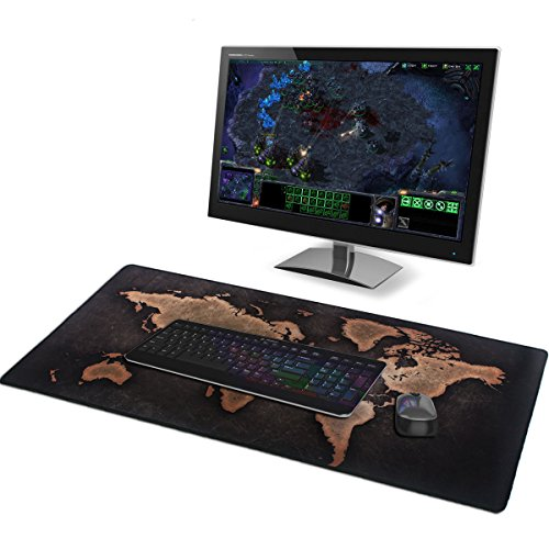 Gaming Mauspad Extended World Map Wasserdicht für Computer PC und Laptop(35.4