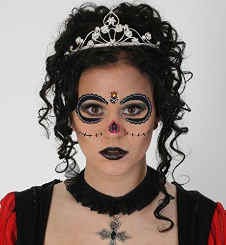 Gesicht-Tattoos, mexikanischer Totentag, verrückte Muster, sortierte Muster, Augen und Nase (Motive 3) (Mardi Gras Masken Für Jungs)