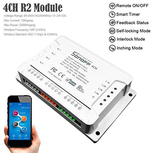 sonoff 4 CH R2 4 velocidades Smart Interruptor Home App controlador, WiFi...