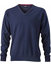 JAMES & NICHOLSON - pull tricot léger - coton - col V - JN659 - Homme