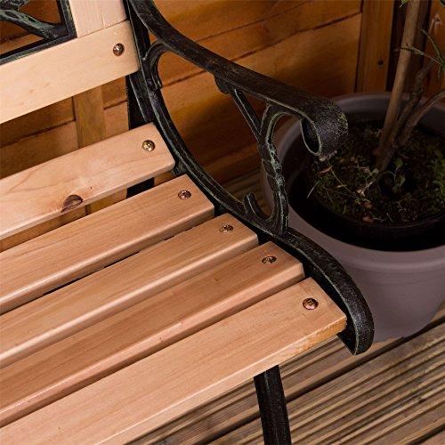 Garden Vida Garden Bench, Rose Style Design 3 Seater Outdoor Furniture Seating Wooden Slats Cast Iron Legs Park Patio Seat