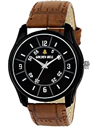 Golden Bell Original Black Dial Brown Leather Strap Analog Wrist Watch For Men - GB-1045