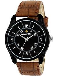 Golden Bell Original Black Dial Brown Leather Strap Analog Wrist Watch For Men - GB-1045