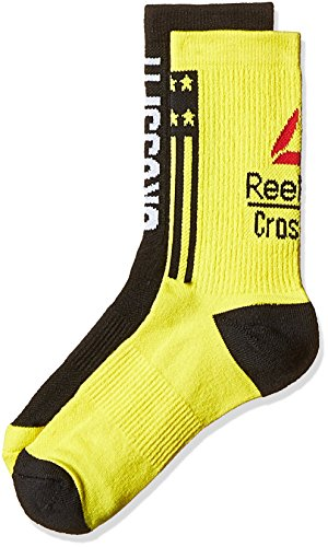 Reebok CF M Tsember CRW Sock-Calzini da uomo, UOMO, CF M Engin CRW Sock, Amarillo / Negro (Yelspa / Negro), XXS
