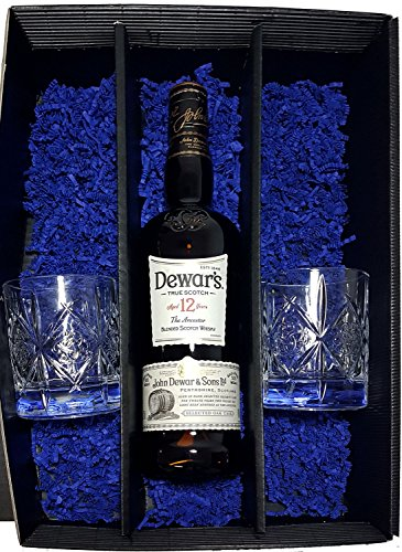 Dewars Geschenkset - Dewars Scotch Whisky 12 Jahre 70cl (40% Vol) + 2x Tumbler Gläser