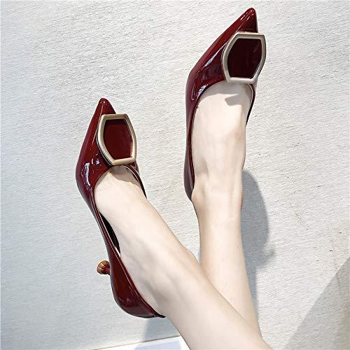MLGSDW Single Schuhe Frau Sharp High Heel Schuhe Dünne Flach Patent Metall Schnallen Sexy Frauen Shoesthirty-Fivewine Red Sexy Red Patent Schuhe