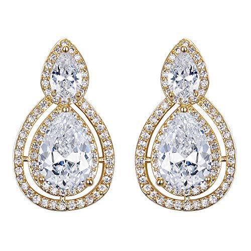 Clearine Damen Österreichischen Kristall Aushöhlen Dopple Tropfen Unendlichkeit Clip-on Dangle Ohrringe Ohrclip Klar Gold-Ton