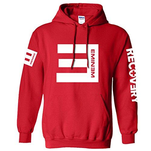 BOODUN Sweat-shirt à capuche en coton mélangé à capuche pour adulte unisexe Rouge