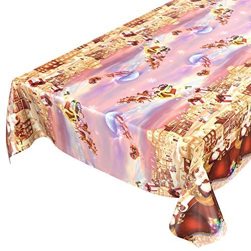 ANRO Wachstuchtischdecke Wachstuch Wachstischdecke Tischdecke Weihnachten Rot Weihnachtsfest 100x140cm