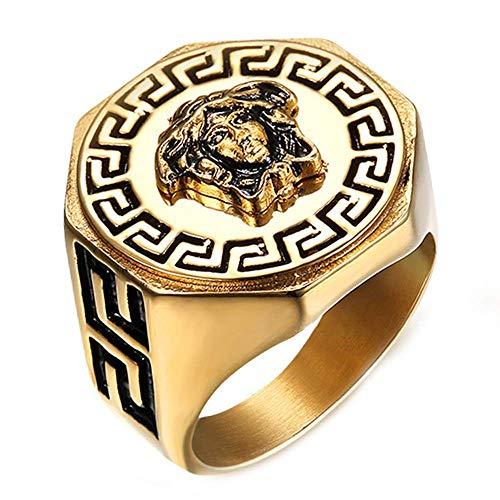 YABEME Edelstahl Mens Ring Hip Hop Herren Gold Ringe Griechische Mythologie Medusa Kopfring Für Männer