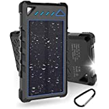 Hobest Solar Charger Power Bank 10000mAh,Waterproof Outdoor Solar Power Bank with LED Flashlight,Dual USB Portable Charger Solar for Smartphones,GoPro Camera,GPS and Emergency Travel (Blue)