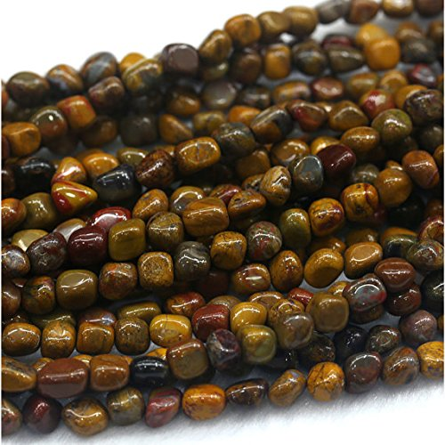 "1 hilos Natural amarillo Rainbow madera petrificada Jasper Nugget forma libre Loose Beads Fit joyas 15 ""5 x 7 mm 03979"