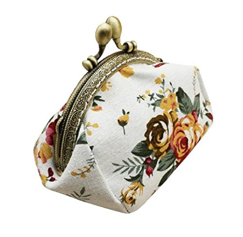 Preisvergleich Produktbild Tongshi Retro Frauen Shell Shape Flower Design Münze Geldbeutel Geldbörse Bag Münze Pocket (weiß)