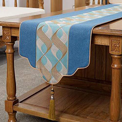 YQ QY Tischläufer Tischfahne Baumwolle Tabelle Tischläufer Tischläufer Fein Jacquard Strudel Design Wohnzimmer Tischdecke Tee Tischdecke Betttuch QY Tischläufer (Color : Navy Blue, Size : 33x260cm) (Tischdecke Blue Vinyl Navy)