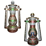 Marble Handicrafts White Makrana Marble Lantern Crafted - Pack Of 2 (MH-25_Multi-Colour)