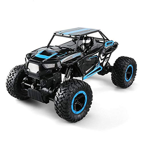Pinjeer 2.4G 4WD 1:14 Offroad Buggy Mini RC Auto Doppelmotoren Rock Crawler Rally Klettern Auto Fernbedienung Bigfoot Cars Monster Truck für Kinder 5+ (Color : Blue, Größe : 3-Battery)