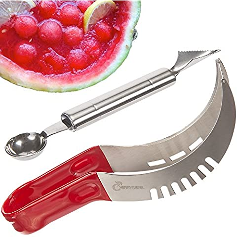 Cherry Rebel–Sandía cortador y cortador de melón (Set. Acero inoxidable 304con cómodo Mango antideslizante ajustable. Server Pinzas. Garantía de por vida