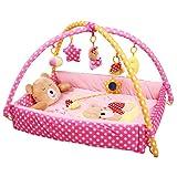 Kenmont Baby Spielmatte Bär Spielbogen Erlebnisdecke Krabbeldecke mit Spielzeug Babybett (Rosa)
