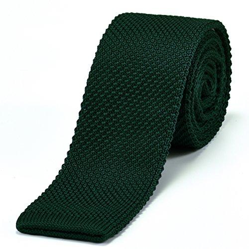 DonDon corbata de punto estrecha de color verde oscuro 5cm