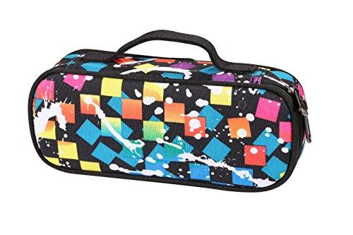 Winshea astuccio studente portapenne tasca penne borsa matite organizzatore cartoleria borsa porta cosmetici con manico per scuola e ufficio (nero colorato)
