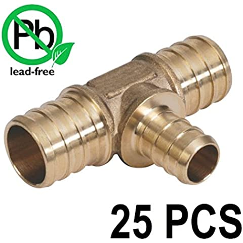 3/4 x 3/4 x 1/2 PEX Barbed Tee - Brass Crimp Fitting Bag of 25 PCS / Brass / .75 x .75 x .5
