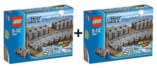 Preisvergleich Produktbild LEGO City 2er Set - Flexible Schienen 7499 - 2 Stück - 9120063892181