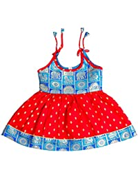 Preethi Dresse's Girls Cotton Silk Ethinc Wear (Pdnbb3_01_Blue And Red_0-3 Months)