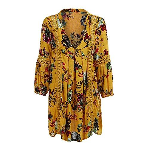 OSYARD Damen Herbst V-Neck Langarm Boho Strandkleid mit Blumenprint Lang Abend Party Cocktail Asymmetrische Minikleid Sommerkleid -