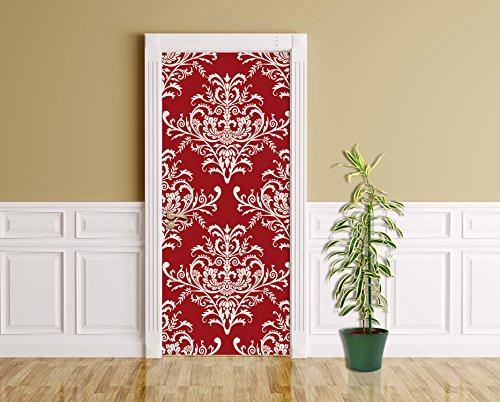 Türaufkleber - Barockes rotes Muster - 90 x 200 cm - selbstklebend - Türpanel - Aufkleber -...