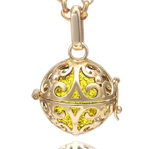 Morella Damen Halskette Edelstahl Gold 70 cm mit Ornament Anhänger und Klangkugel gelb Ø 16 mm in Schmuckbeutel - Gelbe Chakra-anhänger