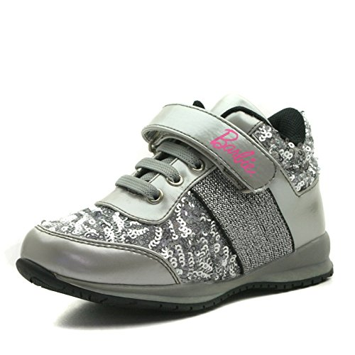 BA103 Barbie Shoes Girls Sporty Shoe with Velcro Strap in Silver Grey with Piallette Trim Taglia 28