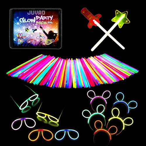 JUVAD Party Pack - 150 Knicklichter Armbänder Leuchtstäbe & Zubehör