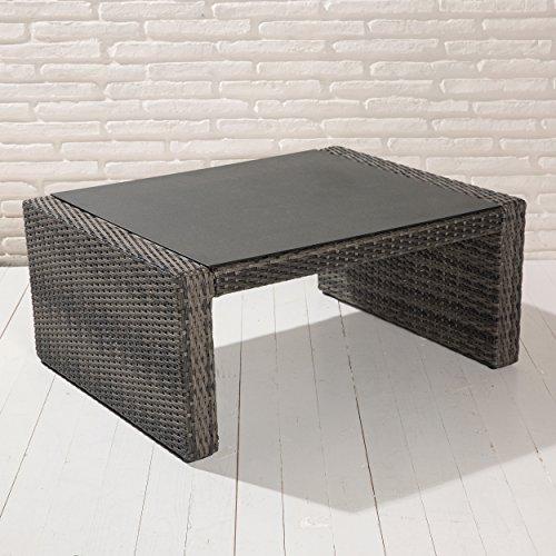 Barcelona Couchtisch 97x74x42 cm grau mix Gartentisch Tisch Wholesaler 148226 - Gartenmöbel für die Loungegarnitur in grau Glastisch Spraystone Glas (42 Couchtisch)