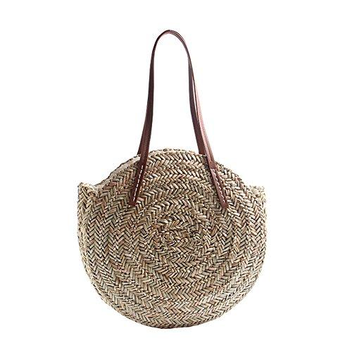 CampHiking - Bolso de Mano Redondo para Mujer, Bolsa de Playa de Verano, Bolsa de Viaje de Doble Uso, marrón, Large