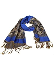 Accessoire pour Femmes Calonice Amorino écharpe bleu foncé avec des glands dorés et de gros motifs dorés Taille unique 192x0.1x71 cm (LxHxl) 24600